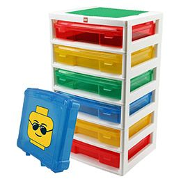 "Each ""drawer"" is actually a snap-shut carrying case that slides into each level. Awesome for sorting by ""project"".    #Lego #storage #container    The Container Store > LEGO® Workstation"