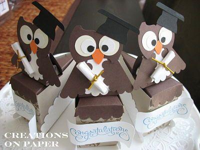 Graduation cake boxes  http://creationsonpaper.blogspot.com/2010/06/graduate-owl-cake-slice-boxes.html