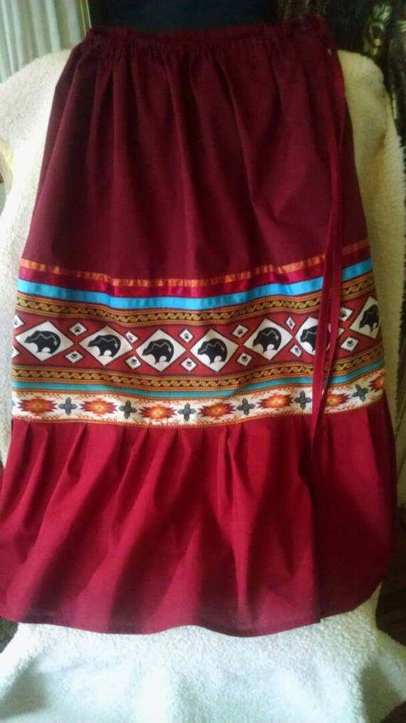 Bear Medicine women's full skirt REGALIA in RED with