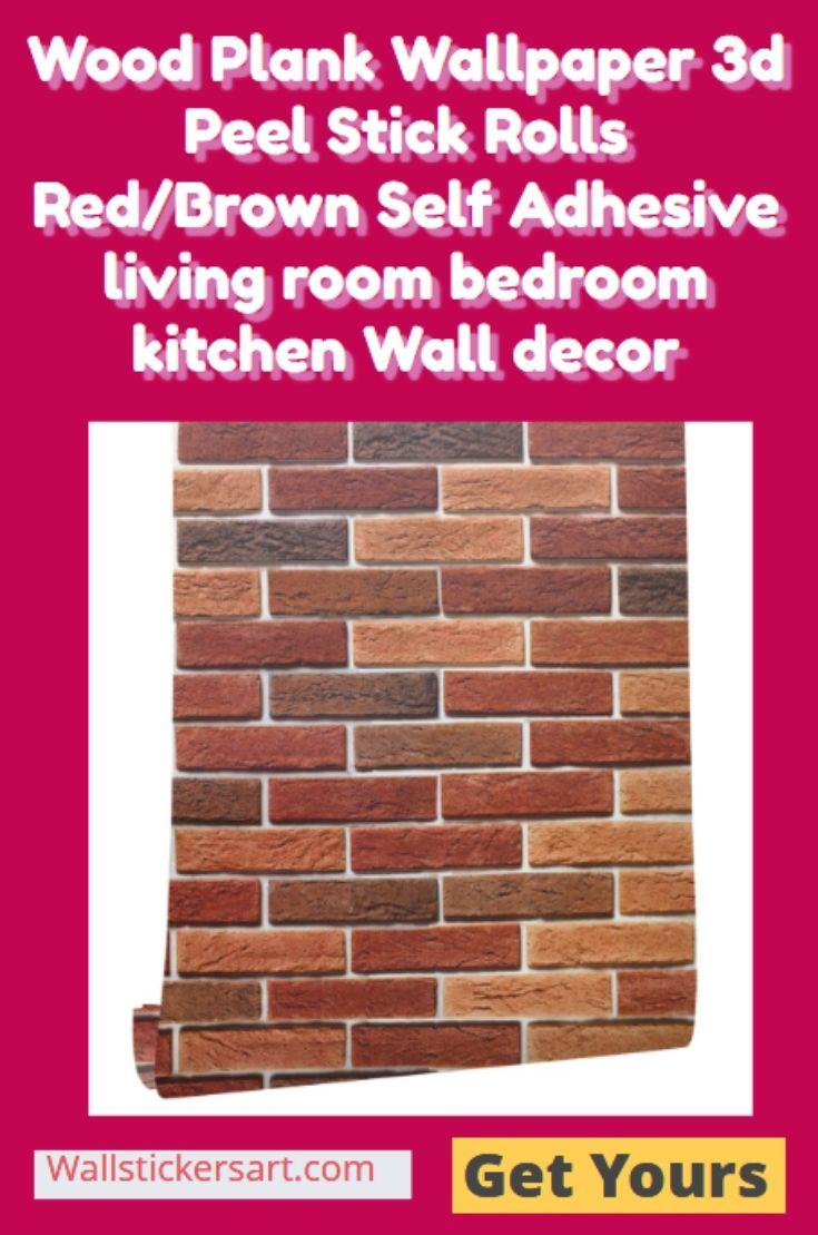 Wood Plank Wallpaper 3d Peel Stick Rolls Red Brown Self Adhesive Living Room Bedroom Kitchen Wa Wood Plank Wallpaper Kitchen Wall Art Stickers Wall Stickers Uk