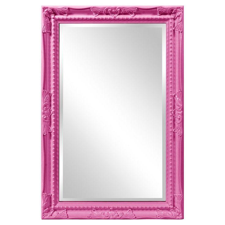 Howard Elliott - Queen Ann Rectangular - Glossy Hot Pink Mirror, Warm Neon Pink