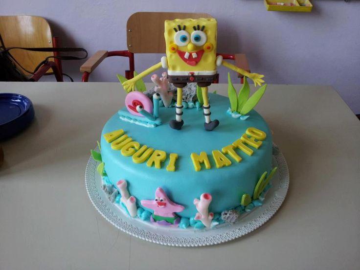 Un po' di mare!!!!, Spongebob fatto in pasta per modellare e pasta di zucchero.