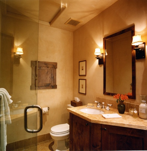 Mediterranean Home Small Bathroom Floor Tile Design