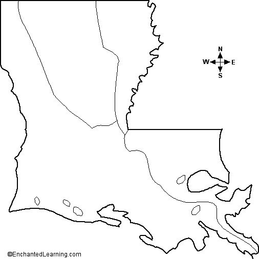 Outline Map Louisiana Usa A Collection Of Geography Pages Printouts And Activities For Students