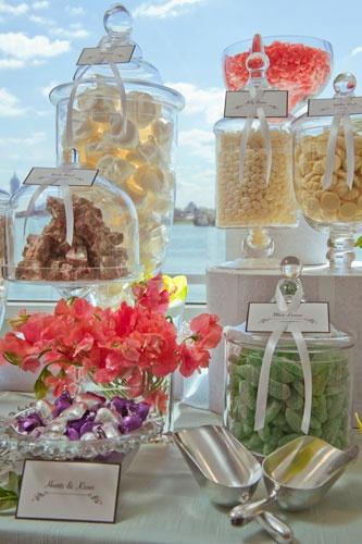 under glass candy buffet idea