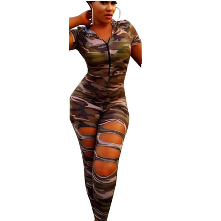 Camouflage Jumpsuit Overalls 2016 Newest Fashion Hooded Sexy Hole Bodysuit Rompers Women Zipper Skinny Piece Pants Long Trousers