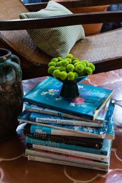 Sunroom Side Chair Vignette Stacked Book Table