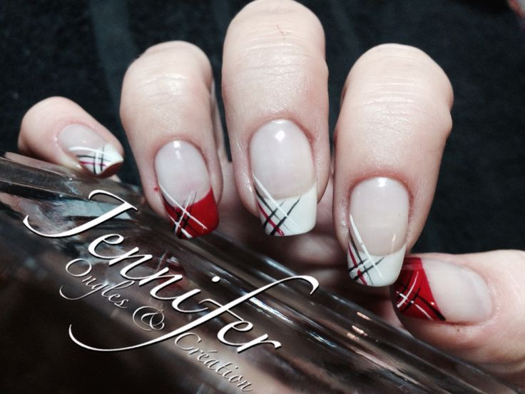 french nail art blanc et rouge nail art pinterest nail art french manucure et ongles. Black Bedroom Furniture Sets. Home Design Ideas