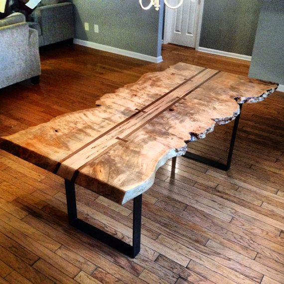 LIve Edge Maple Burl Dining Table on Etsy, $1,800.00. Made in my home town...I want this!!!