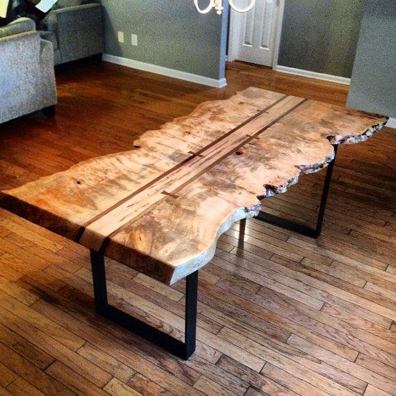 Burl Coffee Table Legs: LIve Edge Maple Burl Dining Table
