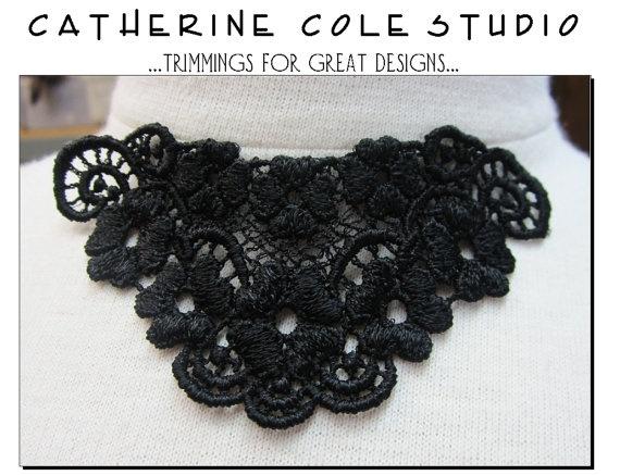 2pce. pik-a-color black white venise lace yoke applique lace  trims noir black gothic white wedding lingerie bridal lace trims venise lace. $2.90, via Etsy.