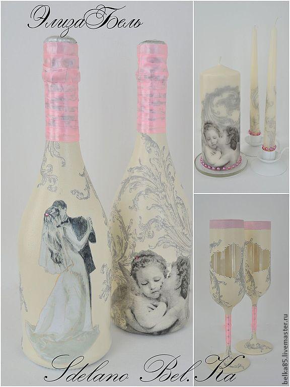 """Купить Свадебный набор """"Розовые Ангелы"""" - розовый, свадебные аксессуары, свадебный набор, свадебный подарок"""