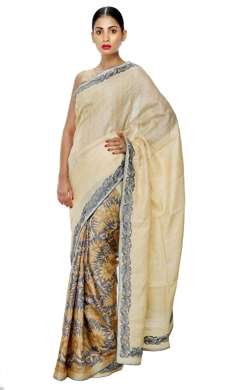 - POWER DRESSING ALERT - Corporate Day Wear Half n Half Tussar Pallu Saree with Embroidery & Floral Printed Pleats.  Now on SALE at 20% OFF. Shop Now!  #ThreadTurner #DesignerSaree