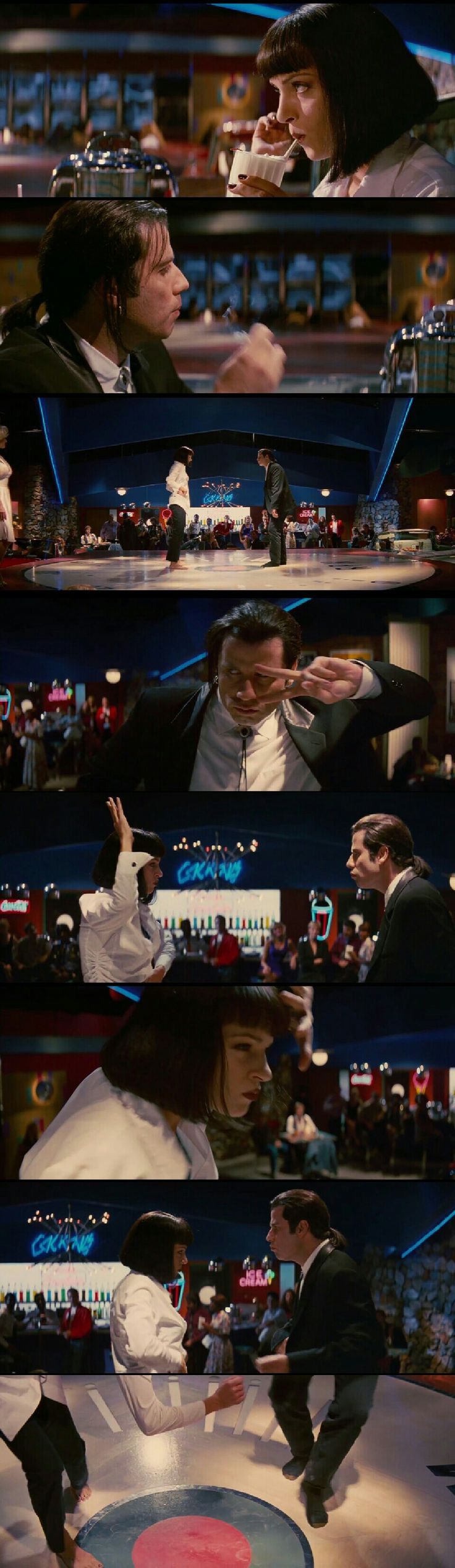 Mia Wallace and Vincent Vega twist dance.