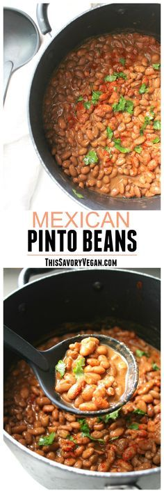 Making beans from scratch is easier than you think. Try these Mexican Pinto Beans for the most delicious beans you've ever had! | VEGAN + GF | ThisSavoryVegan.com