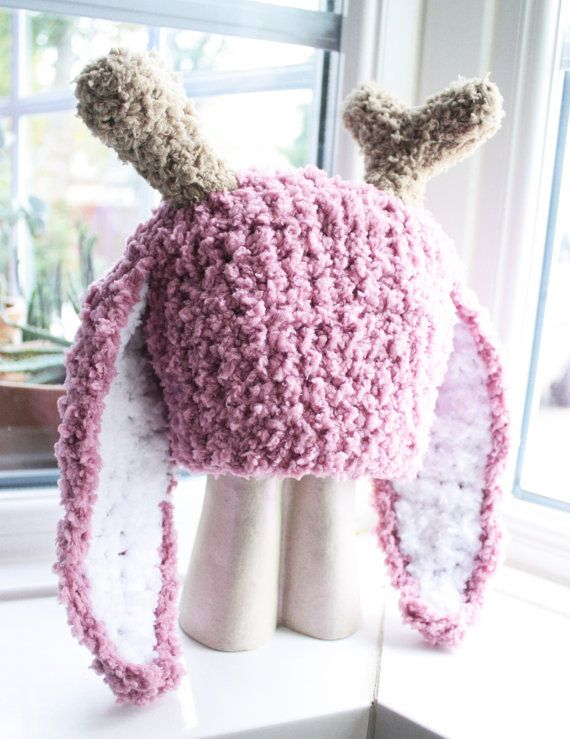 For older children, teens and adults this jackalope hat is a fun twist to the standard bunny hat! Crocheted with my favourite fluffy yarn just like my