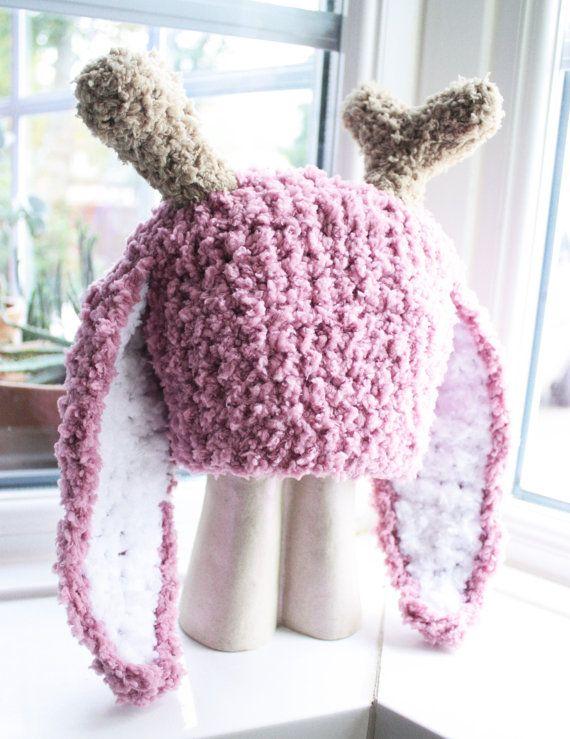 Jackalope Hat, Adult Bunny Hat, Crochet Costume Hat, Easter Bunny Jackalope Hat, Antlers Crochet Hat, Plum White Jackalope Beanie #jackalope #bunny #bunnyhat #hat #babamoon #etsy #photoprop #plum