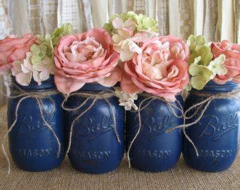 Set of 4 Pint Mason Jars, Ball jars, Painted Mason Jars, Flower Vases, Rustic Wedding Centerpieces, Navy Blue Mason Jars,  Pint Jars