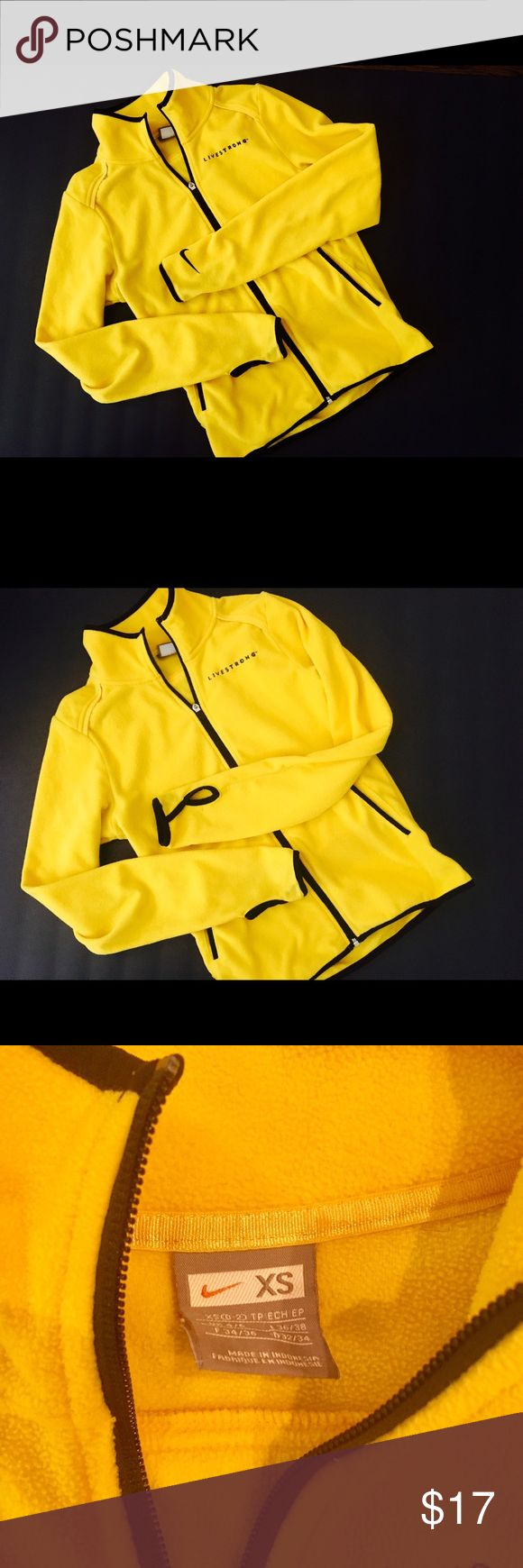 Nike Livestrong zip front fleece jacket XS. Nike Livestrong fleece zip front Jacket. Women's Size XS. Bright yellow with black trim. Thumb holes. Shows some wear from normal use, but still looks very nice. No rips holes or stains. There is a slight fading of the black trim on one sleeve. (Last pic.) Not very noticeable. Women's Size XS. Nike Jackets & Coats