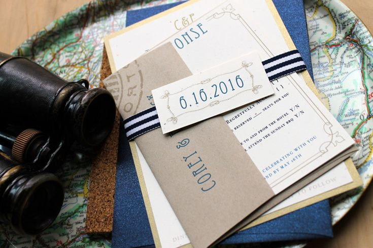Nautical Bliss - Destination Wedding Invitations, Vintage - Romantic With Navy, Taupe - Purchase for a Sample. $6.50, via Etsy.