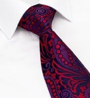 Pure Silk Paisley Tie - M&S - red and purple