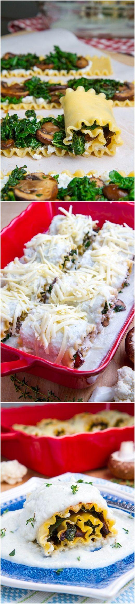 Лазанья ролл с грибами Mushroom Lasagna Roll Ups