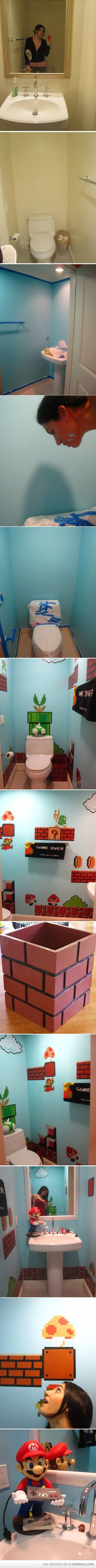 Dream BathroomBoys Bathroom, Bathroom Makeovers, Kids Bathroom, Half Bath, Dreams Bathroom, Mario Bathroom, Bathroom Ideas, Mario Bros, Super Mario