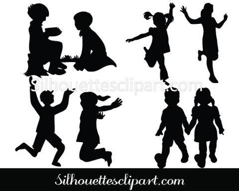 Children Silhouette Vector Graphics