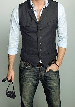 casual groom attire. vest and jeans.  I like the idea of a groom being casual