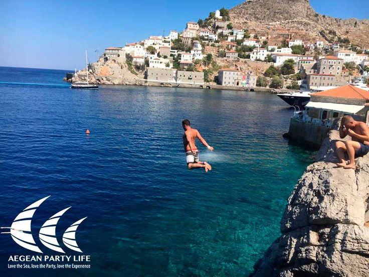 """ So you think..YOU can jump ;) "" We miss summer. Do YOU? #AegeanPartyLife #yachting #sailing #Hydra"