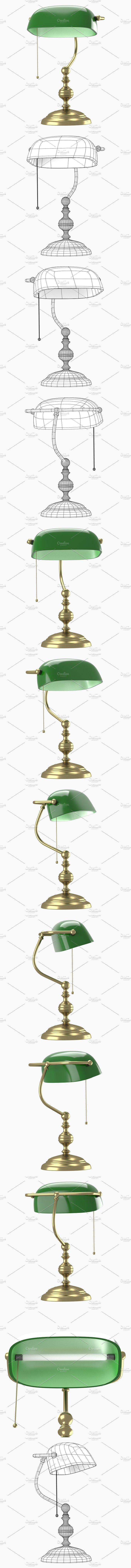 Old style lamp with green dome. 3D Objects