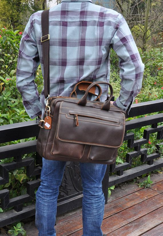 Brown Mens Leather Briefcase Double Zipper 15 by Mariabagbagworld, $129.00