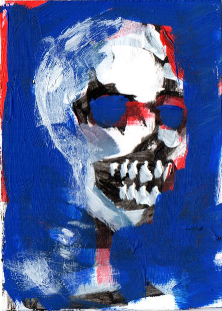 """SKULL on BLUE   abstract , Acrylic original  ,ACEO  jack larson 3.5""""x2.5"""" #Abstract"""