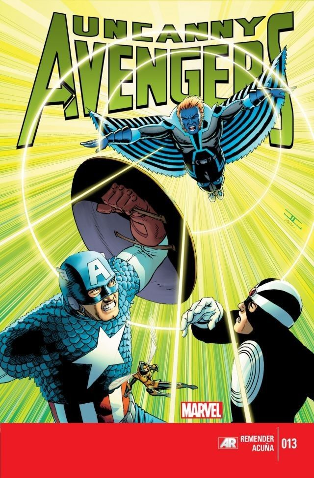 Uncanny Avengers #13  Ragnarök is now! Against his masters' orders a deranged and vengeful Sentry kills an Uncanny Avenger! No hoax, no dream and only the first casualty of many! To allow reinforcements from other eras The Wasp must find and destroy the Twins Tachyon transmitter, but first she'll have to defeat The Grim Reaper. Scarlet Witch makes an impossible choice that will define her forever.