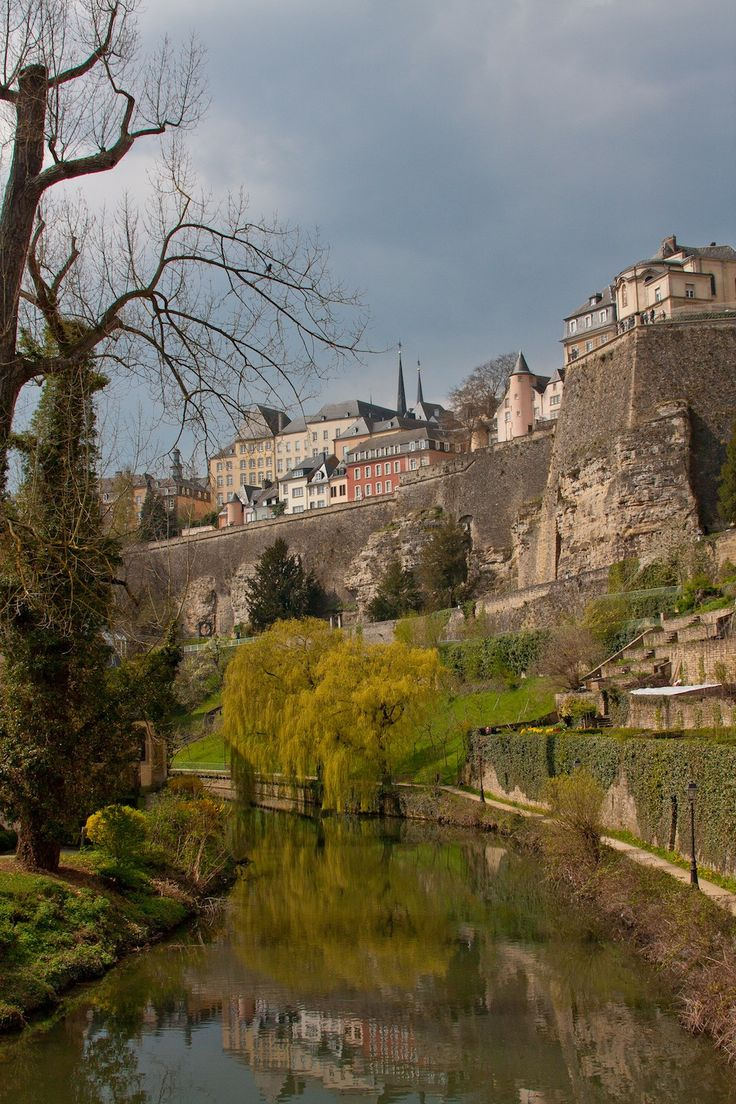View of old fortified city, above Alzette river in Luxembourg City