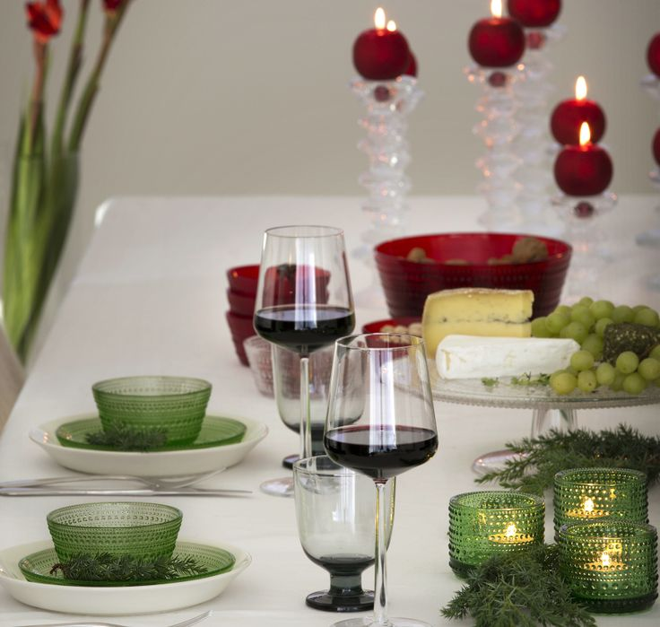 Essence wine glasses, Festivo candle holders, Lempi glass, Kastehelmi plates, bowls and votives, Teema plates