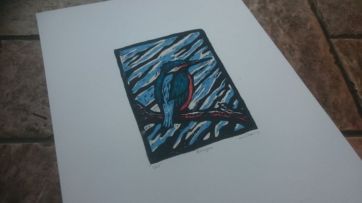 Halcyon. 5 colour Limited ed. linocut print by McSherryArt on Etsy