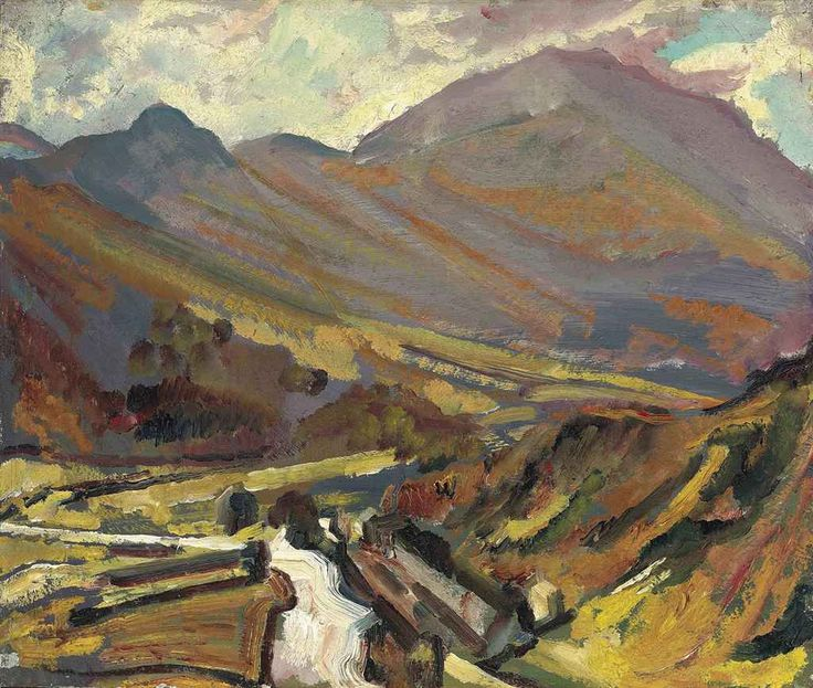 poboh:  In the Cairngorms, late Summer, David Bomberg. English (1890 - 1957) I've re-pinned this pin because I love this painting so much. I keep showing Bomberg's work to the students who attend my regular painting class, and they comment that it is not dis-similar to my own painting style. I will take that!  Do you agree? http://www.angelacorben.com/mywork/landscapes