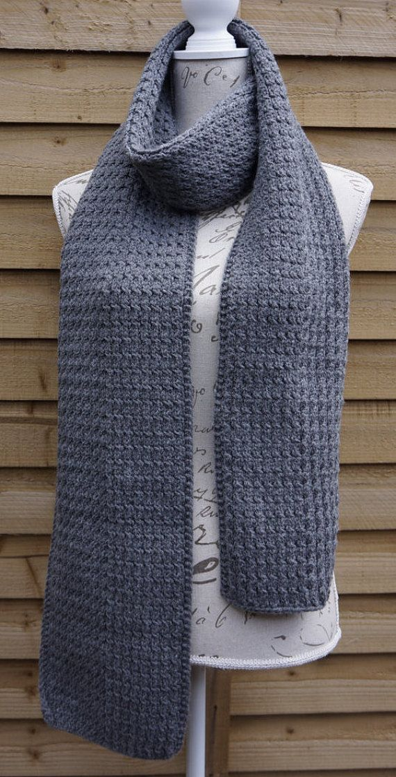 Hand Knitted Unisex Grey Color Acrylic Scarf by UllyWoolly on Etsy
