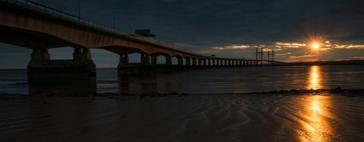 Second Severn Crossing Bridge at sunset over the River Severn between England and Wales,Panoramic Photography Snowdonia Wales, Scotland, Worcester /Snowdon summit view from the Snowdon Ranger Path at autumn sunrise,,Panoramic Canvas Prints Snowdonia Wales