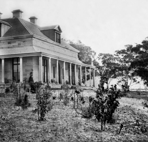 Drummoyne house in the mid 1850s with the garden barely developed