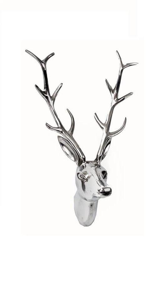 279 dodatki - dekoracje - anioły i figurki-Poroże jelenia, rogi, głowa Deer Silver 48x30x15