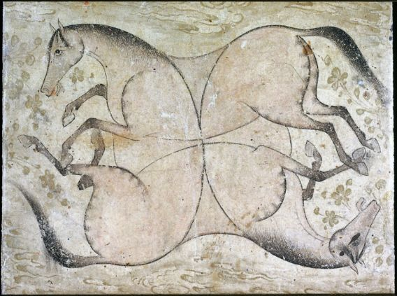 Four Interlaced Horses. Persian, Safavid Period, early 17th century. Ink on…