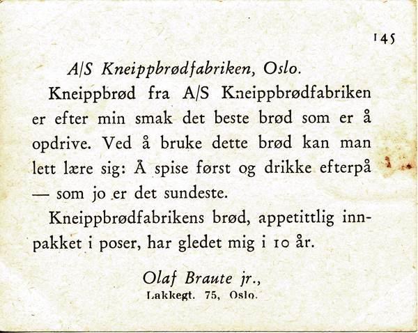 SAMLERKORT KNEIPPBRØDFABRIKKEN 1935/38 - 145 LÆRDAL b
