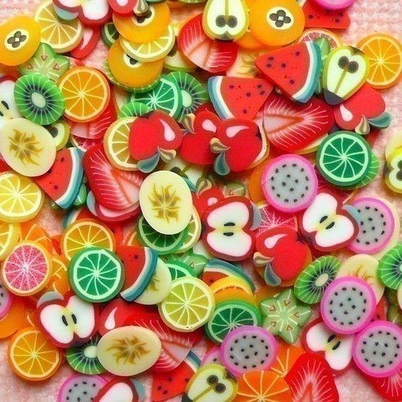 Fimo+Fruits+Polymer+Clay+Cane+Slices+Mix+Kawaii+by+MiniatureSweet,+$4.80