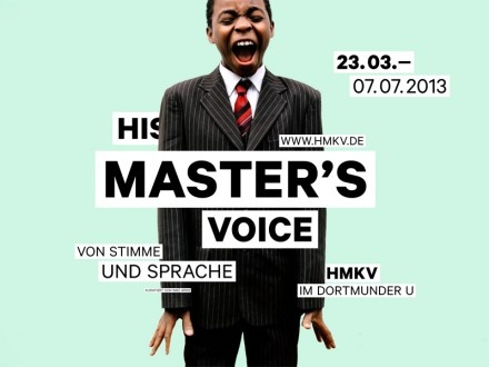 """Say/sing it out loud: """"His Master's Voice"""": On Voice and Language is an exhibition on the performativity of voice and language, the inauthenticity and uncanniness of speaking, voice as a political speech act, and language as performative utterance."""