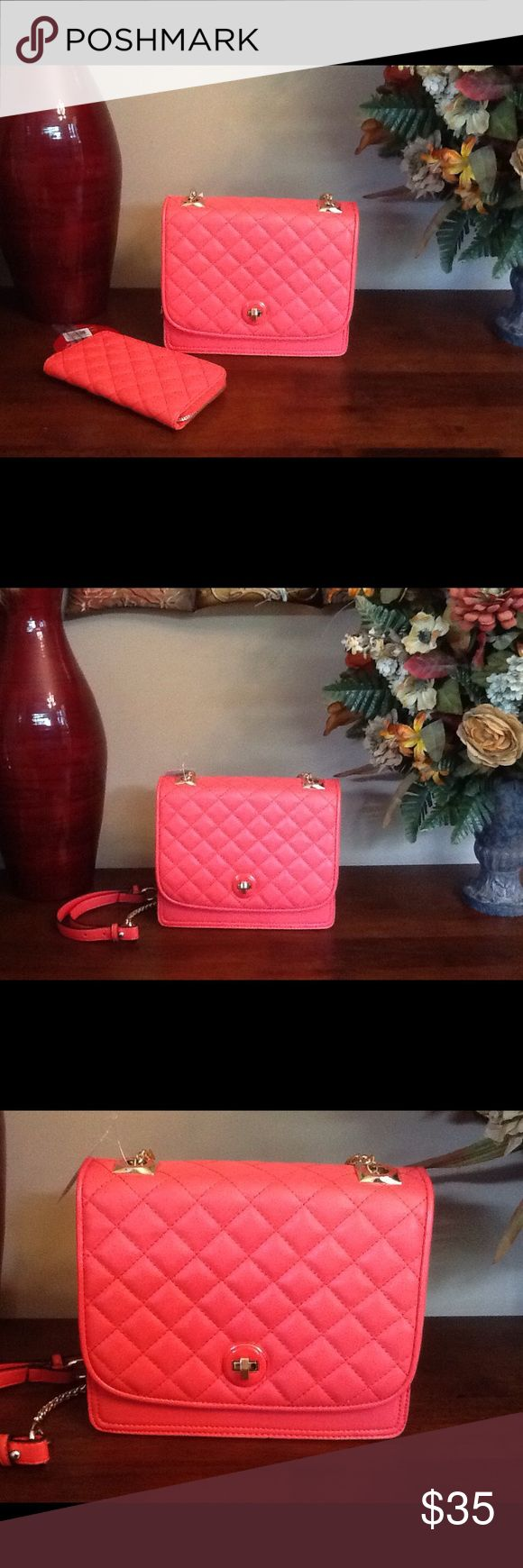 Coral Shoulder Handbag with Wallet This is a beautiful shoulder handbag that comes with a wallet and is still New with Tags. The magazine is used to show the Size of the handbag!! **Reasonable Offers Only!!** Bags Shoulder Bags