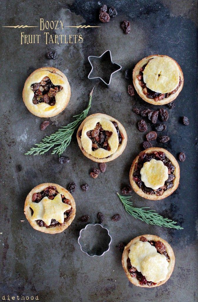Boozy Fruit Tartlets nuts, rasins, dried cranberries, cran juice