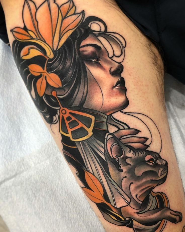Fede Almanzor Tattoo Auf Instagram Lady Sphynx Traditional Neotraditional Tatouages Tatto Tatto Sleeve Tattoos Tattoo Styles Traditional Tattoo Woman