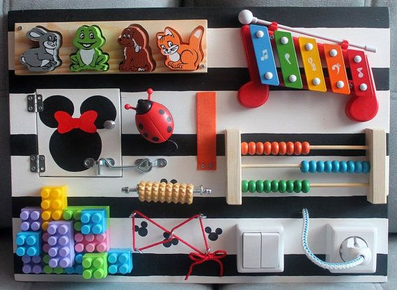 "Busy Board ""Minnie"", Activity Board, Sensory Board, Montessori educational Toy, Fine motor skills board for toddlers & babies"